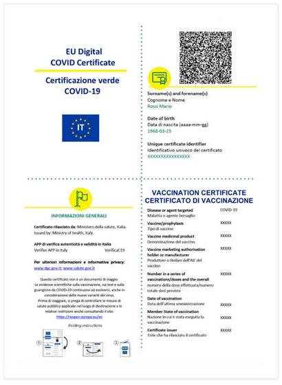 certificazione anti covid